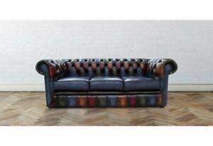 Dubois 200Cm Genuine Leather Scroll Arms Chesterfield Sofa- RRP £1549