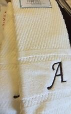 Initial Monogram A Embroidered Hand Towel 100% Cotton Ivory Brown Set of 2 NEW
