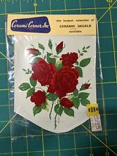 "Water Slide Ceramic Decal Roses Vintage Large 5""x6.5"""