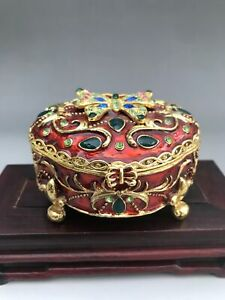 Chinese Hand make Cloisonne water drill Jewelry box N107