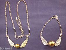 Harry Potter Golden Snitch Angel Wings NECKLACE & BRACELET Combo USA