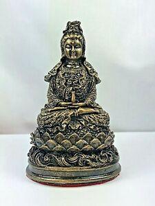 """4"""" SPIRIT KWAN-YIN GUANYIN STATUE CHINESE BUDDHA WEALTH TALISMAN THAI AMULET"""