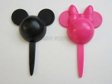 12 Minnie & Mickey Mouse Cup Cake Picks Decor Pink Black Topper Kid Party Supply