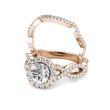 2.00CT Round Moissanite Halo Diamond Engagement Ring Band Set 14K Rose Gold