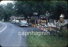 Old Cars Parked At Roadside Gift Souvenir Stand Attraction Vtg 1950s Slide Photo