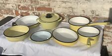 French Vintage Set Of Enamel Kitchenalia Yellow Bowl Casserole Pot Saucepan
