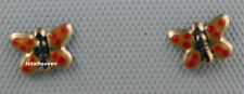 Solid 14K Yellow Gold Orange Butterfly Screw Back Stud Earrings Children Baby
