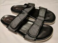 Easy Spirit E Collection  Black & Silver Flat 2 Strap Sandals 10 M
