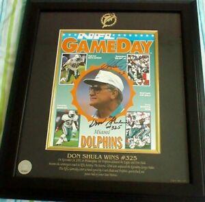 Don Shula Dan Marino autographed signed Dolphins Win 325 1993 program framed COA