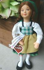 "Vintage Baitz Austrian Doll 9"" Felt and Composition Fully Dressed w/Tag"