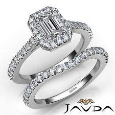 Engagement Ring Gia E-Vvs2 W Gold 1.8ctw Sidestone Bridal Halo Emerald Diamond
