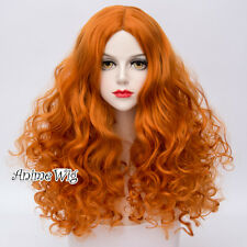 70CM Lolita Orange Curly Synthetic Hair Women Halloween Cosplay Wigs+Wig Cap