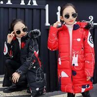 kids Children Winter Warm Cotton Down Jacket Girl Hooded Snowsuit Coat Outerwear