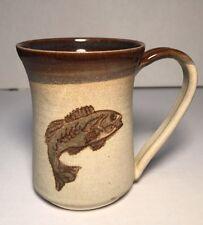 "Hand Thrown Pottery Mug Cup Signed Fish Design Tan Brown 4""-tall 8 Oz"