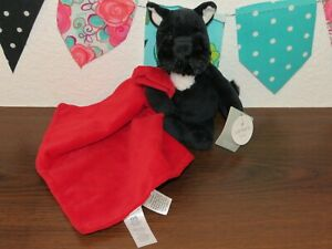"""NWT Carters Black Scottie Dog Red Puppy Rattle Lovey Security Blanket Toy 8"""""""