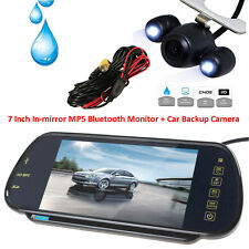 """2 LEDs Night Vision Reverse Camera+7"""" MP5 Bluetooth Car Rearview Mirror Monitor"""