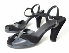 Size 6.5 1940s grey black shoes heels pumps leather 40s vintage pinup retro