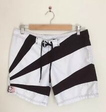 BILLABONG Women's Board Shorts Surf Black and White Striped Size 7 [P3]
