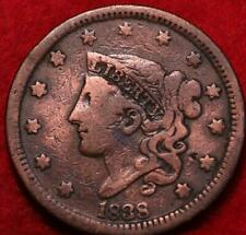 1838 Philadelphia Mint Copper Coronet Head Large Cent