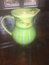 Southern Living at Home Gail Pittman Provence Green Blue Hand Painted Pitcher