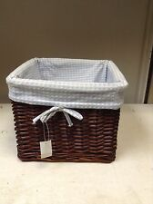 Large Espresso Toy Laundry Wicker Basket w/ Light Blue Gingham Liner 12x12x10