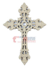 Beige Fleur De Lis Cast Iron Decorative Wall Cross Metal Victorian 9.5 x 6.5 in