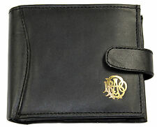Quality RAOB Genuine Black Leather Wallet Credit Card Holder Coin Pouch Purse