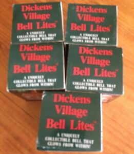 Lot of Five Dickens Village Bell Lites, Never Opened