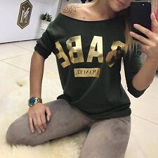 LA Damentop Damenshirt Longshirt OVER-SIZE T-Shirt BABE Print Strand GOLD XS-L