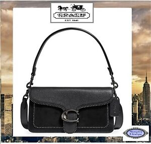 NWT COACH TABBY T/H Shoulder Crossbody Handbag In BLACK Mix-Leather/Suede Pewter