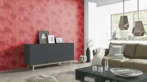 Oriental Japanese Chinese Trees Banzai Feature Wall Wallpaper Glitter Red Gold