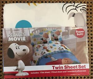 Peanuts Movie Charlie Brown, Snoopy, Woodstock TWIN 3pc Sheet Set NEW