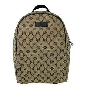 NEW Gucci Mens GG Guccissima Drawstring Backpack Rucksack Bag Beige Brown 449906