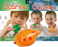 OCARINA, Orange 4-hole, Play Your Ocarina BOOKs 1 and CAROLS, with FREE DELIVERY