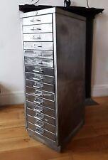 Vintage Industrial 15 Drawer Polished Metal Filing Cabinet