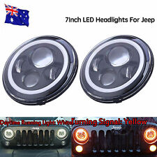 Black 7Inch Round Halo Angel Eyes LED Headlights For Jeep Wrangler 97-15 JK/TJ