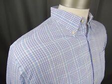 Peter Millar Button Down Shirt White Blue Purple Men's Extra Large 100% Cotton