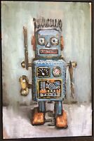 Oil on Canvas Blue Painting Bradford Salamon Curly The Robot Large Still Life
