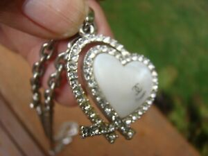 Chanel Necklace Heart Pendant MOTHER OF PEARL & RHINESTONES