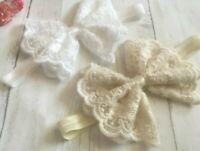 Baby Girl Ivory Cream/Off White Christening Headband Baptism Wedding Hairband