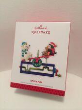 2013 Hallmark KEEPSAKE Christmas Ornament UP FOR FUN Playground PENGUIN Bear