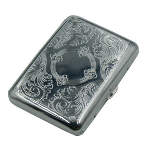 Vintage Stainless Steel Cigarette Case Metal Retro holds 16 Cigarettes HCO11