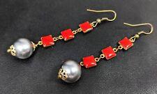 Lovely Vintage Red Enamel Faux Pearl Long Dangle Drop Earrings 1980s