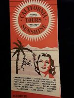 1941 RARE CALIFORNIA SUNSHINE TOURS AWESOME PICTURES FOLD OUT ~ MAP~ Brochure!