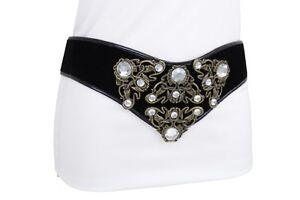 Women Vintage Gold Metal Flower Charms Ethnic Fashion Belt Black Fabric Wonder L