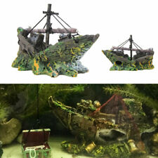 Aquarium Fish Tank Pirate Ship Boat Wreck Ornament Shipwreck Decoration Safe UK