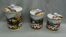 Stunning 3 Fravolini Orvieto Italy hand painted pottery canisters