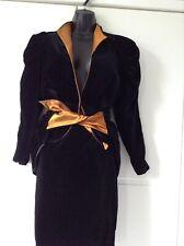 Elaine Closs  Black Two Piece Vintage Velvet Suit Size 10