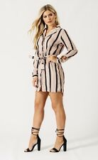 New Womens Ladies Beige black stripe shirt dress size 14