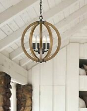 Modern Farmhouse Chandelier Light Fixture Ceiling Pendant Lamp Rustic Wood Brown